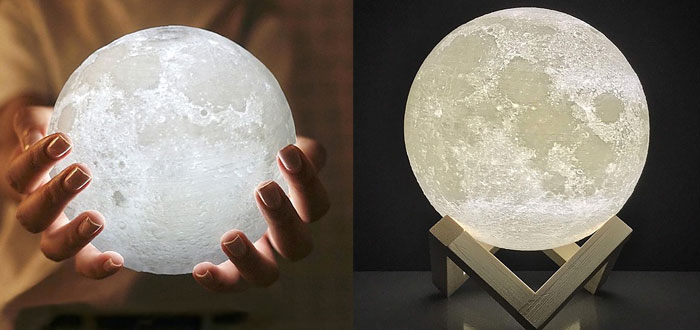 very curious gifts, moon-shaped lamp