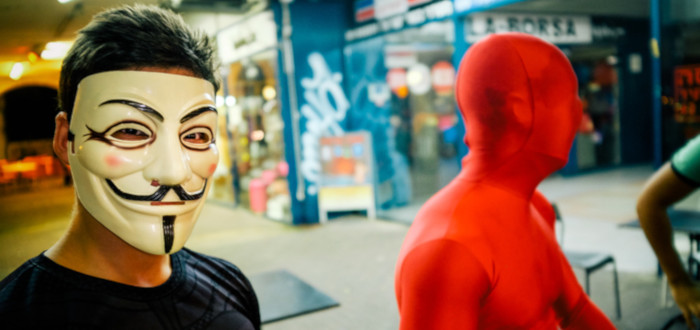 Red Anonymous mask
